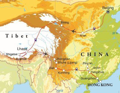 Routekaart Rondreis China & Tibet, 30 dagen