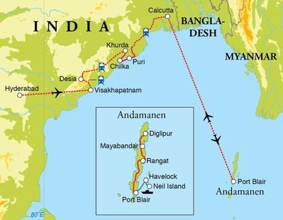 Routekaart Rondreis Oost-India & Andamaneilanden, 24 dagen