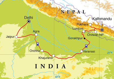 Routekaart Rondreis India & Nepal, 22 dagen