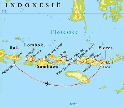 Routekaart Rondreis Kleine Sunda-eilanden, 21 dagen