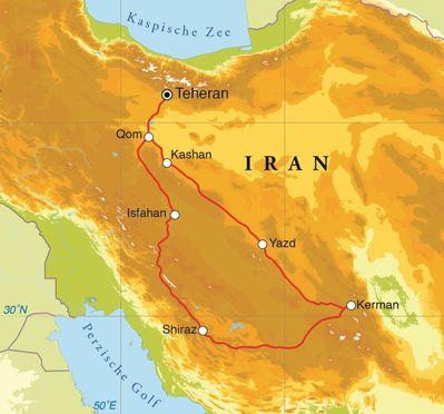 Routekaart Rondreis Iran, 14 dagen
