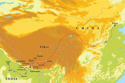 Routekaart Van Delhi naar Beijing, 30 dagen