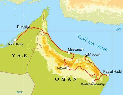 Routekaart Rondreis Oman, Dubai en Abu Dhabi, 12 dagen