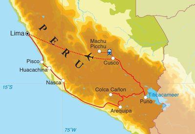 Routekaart Rondreis Peru, 21 dagen