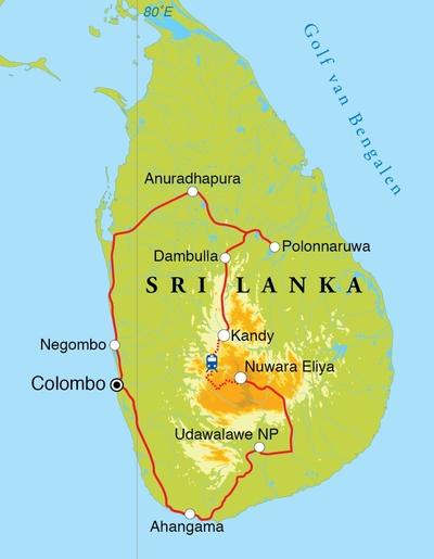 Routekaart Rondreis Sri Lanka, 15 dagen