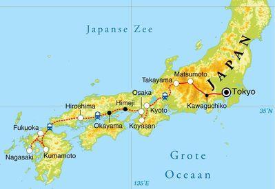 Routekaart Rondreis Japan, 22 dagen