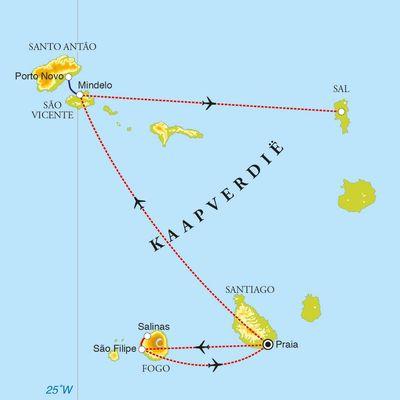 Routekaart Rondreis Kaapverdische eilanden, 12 dagen