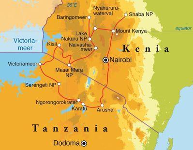 Routekaart Rondreis Kenia & Tanzania, 18 dagen lodge/hotelreis
