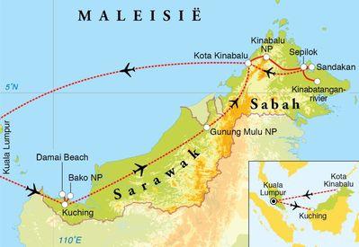 Routekaart Rondreis Maleisisch Borneo, Sabah & Sarawak, 20 dagen