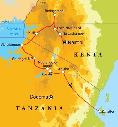 Routekaart Rondreis Kenia, Tanzania & Zanzibar, 21 dagen hotel/lodgereis