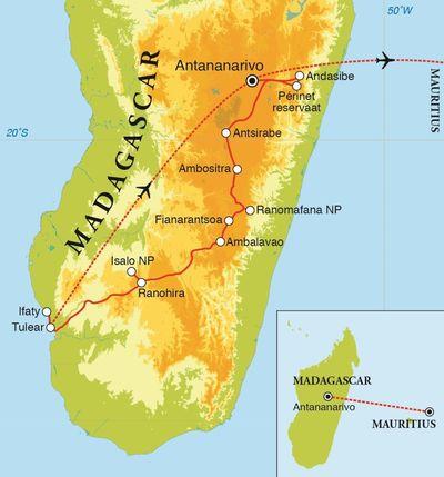 Routekaart Rondreis Madagascar & Mauritius, 23 dagen