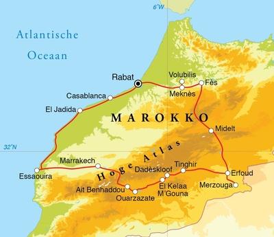 Routekaart Rondreis Marokko, 15 dagen