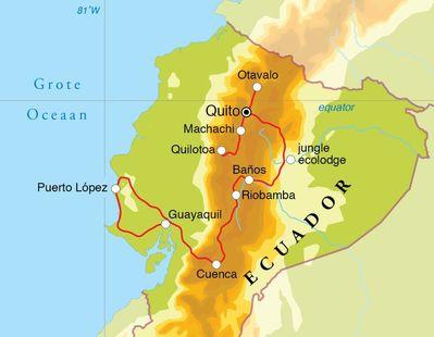 Routekaart Rondreis Ecuador (& Galapagos), 21 of 29 dagen