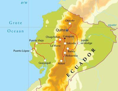 Routekaart Rondreis Ecuador 19 dagen