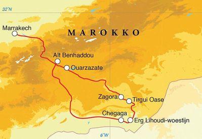 Routekaart Woestijnreis Marokko, 7 dagen