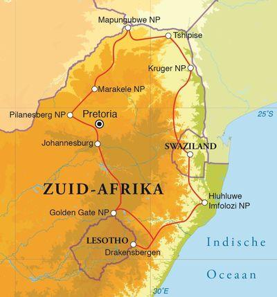 Routekaart Rondreis Zuid-Afrika nationale parken, 18 dagen