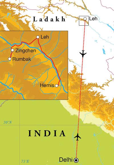 Routekaart Natuurreis Ladakh, 10 dagen