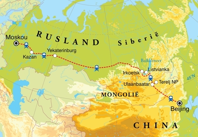 Routekaart Winter Transsiberië Express, 23 dagen