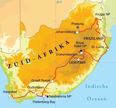 Routekaart Rondreis Zuid-Afrika, Lesotho & Swaziland, 22 dagen hotel/chaletreis