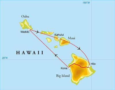 Routekaart Rondreis Hawaii, 15 dagen
