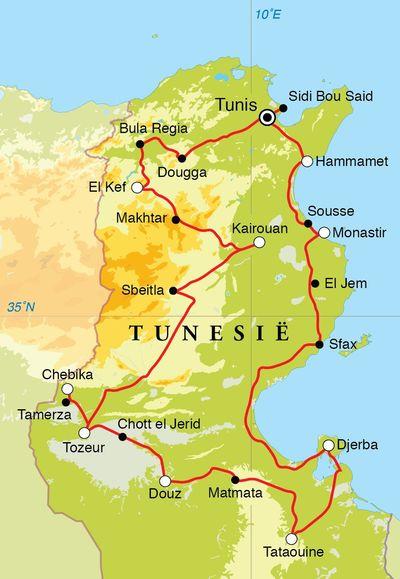 Routekaart Rondreis Tunesië, 12 dagen
