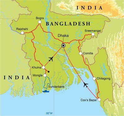 Routekaart Rondreis Bangladesh, 18 dagen