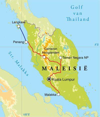 Routekaart Rondreis West-Maleisië, 18 dagen