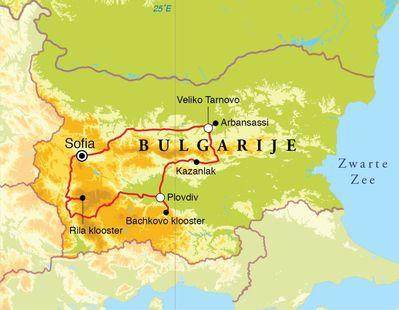 Routekaart Rondreis Bulgarije, 8 dagen