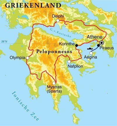 Routekaart Rondreis Griekenland, 9 dagen