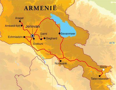 Routekaart Rondreis Armenië, 9 dagen