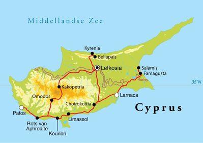 Routekaart Rondreis Cyprus, 8 dagen