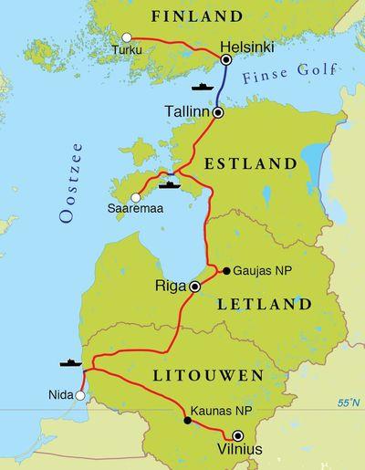 Routekaart Rondreis Litouwen, Letland, Estland & Finland, 14 dagen