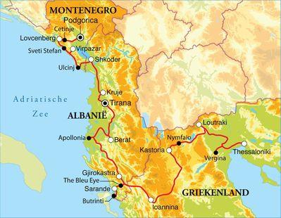 Routekaart Rondreis Montenegro, Albanië en Noord-Griekenland, 18 dagen