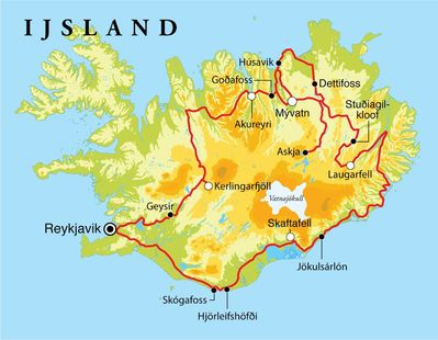 Routekaart Rondreis IJsland, 15 dagen kampeerreis