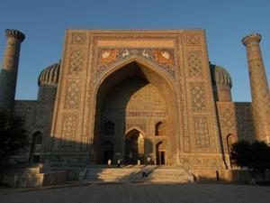 zonsondergang op het Registan