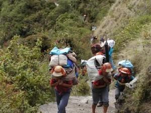Dragers van de Inca Trail