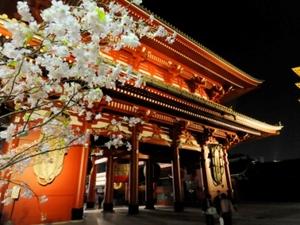 Tokyo, tempel bij nacht