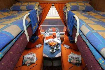 Transsiberie express trein coupe slaapplaatsen