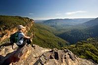 Australia. Katoomba. Blue Mountains National Park. Near Wentworth Falls. Hiker / tourist.