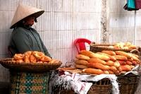 Dame markt eten stokbrood Vietnam