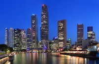 Singapore skyline nacht