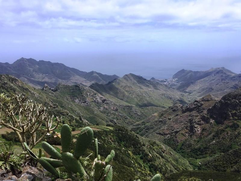 UItzicht met cactus over Agana-gebergte
