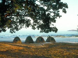 Lake Malawi - tenten op het strand