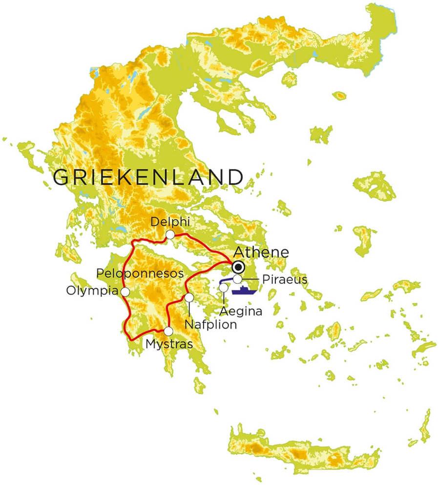 Routekaart Griekenland, 9 dagen