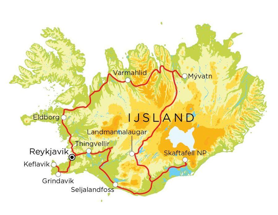 Routekaart IJsland, 14 dagen
