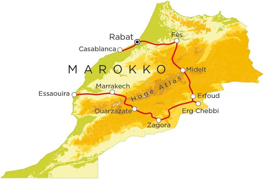 Routekaart Marokko, 22 dagen