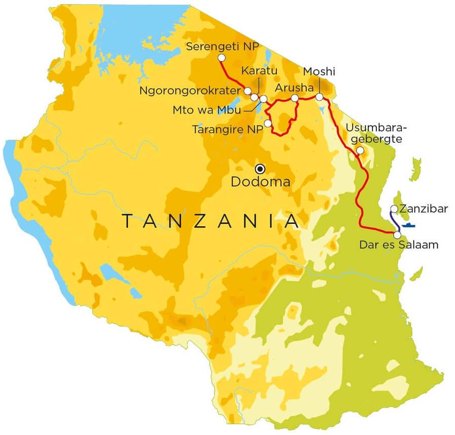 Routekaart Tanzania & Zanzibar, 21 dagen