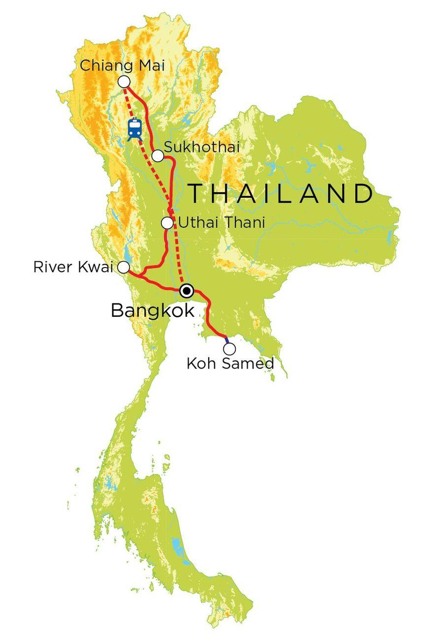 Routekaart Thailand, 15 dagen