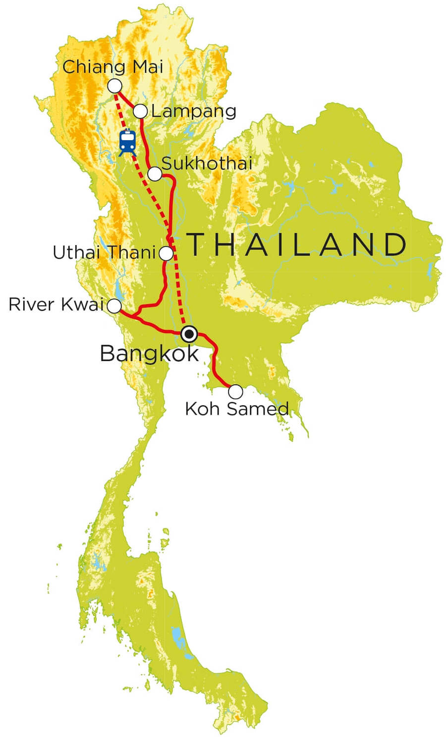 Routekaart Thailand, 21 dagen
