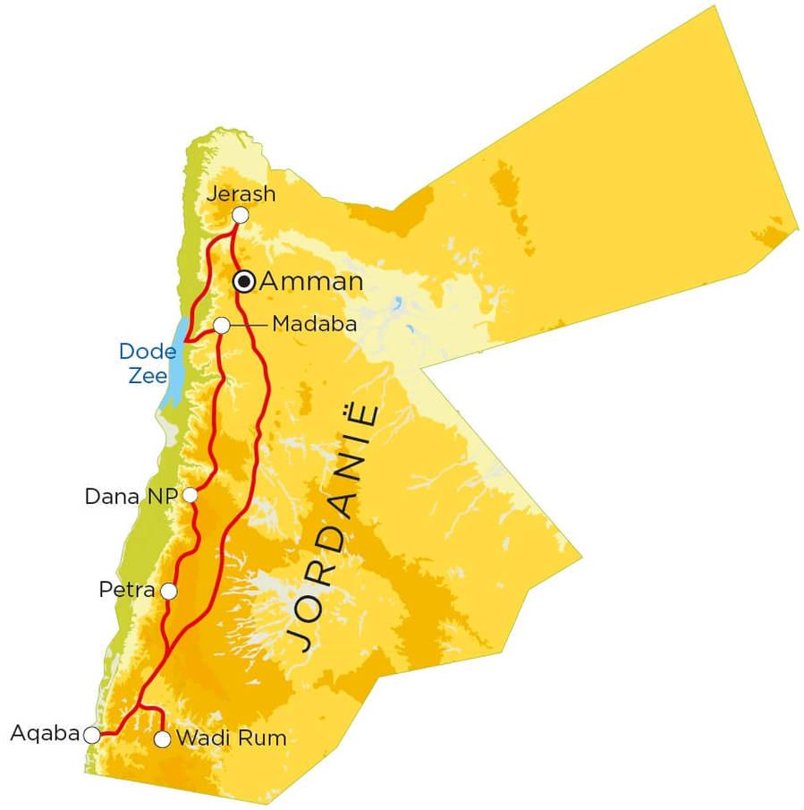 Routekaart Jordanië, 9 dagen